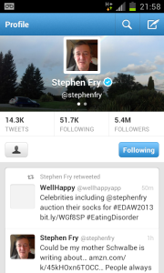 Stephen Fry retweets WellHappy!